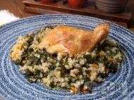 Печени пилешки бутчета с ориз, лапад и моркови на фурна